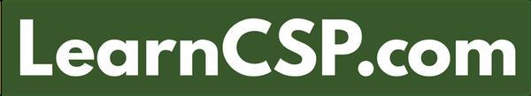 LearnCSP logo, white on green